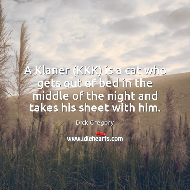 A Klaner (KKK) is a cat who gets out of bed in Dick Gregory Picture Quote