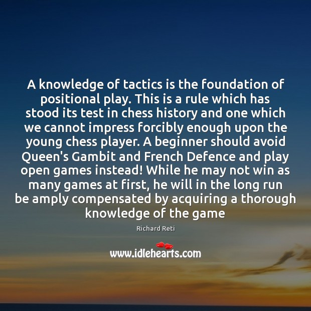 Image, A knowledge of tactics is the foundation of positional play. This is