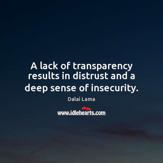 A lack of transparency results in distrust and a deep sense of insecurity. Image