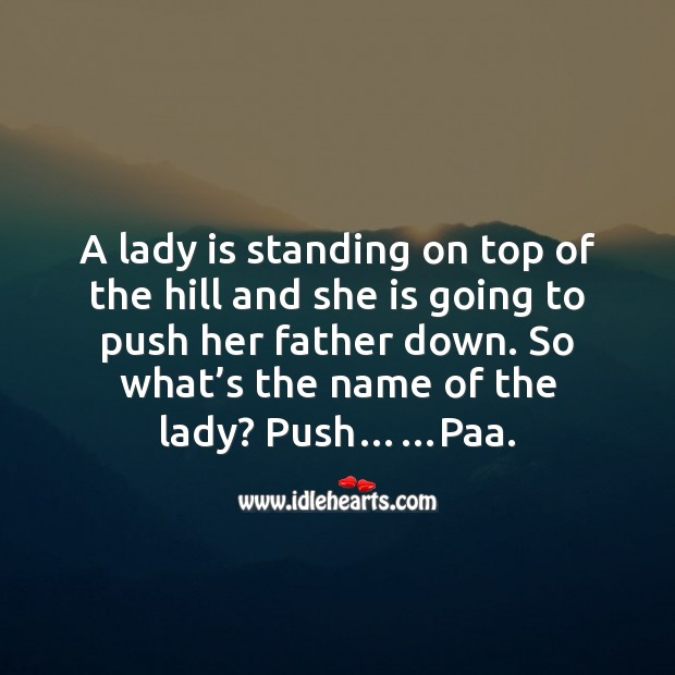A lady is standing on top of the hill Funny Messages Image