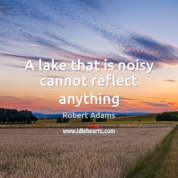 A lake that is noisy cannot reflect anything Robert Adams Picture Quote