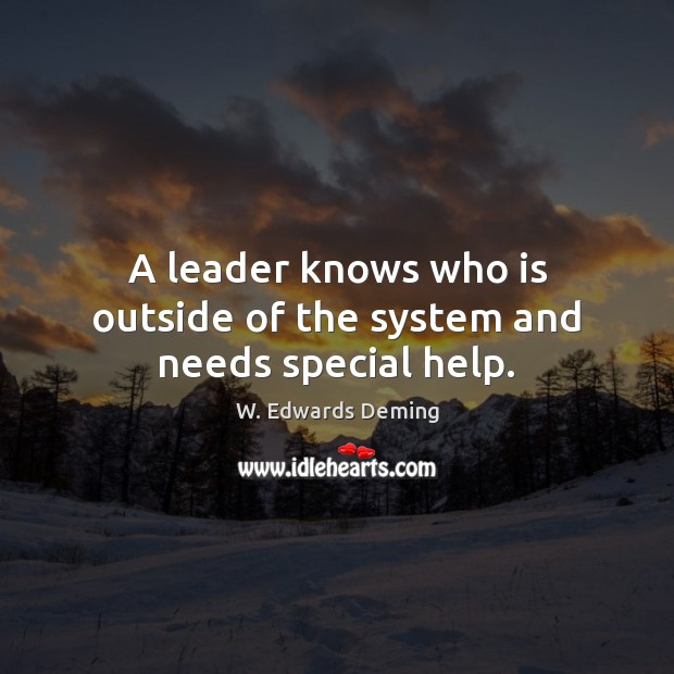 Image, A leader knows who is outside of the system and needs special help.
