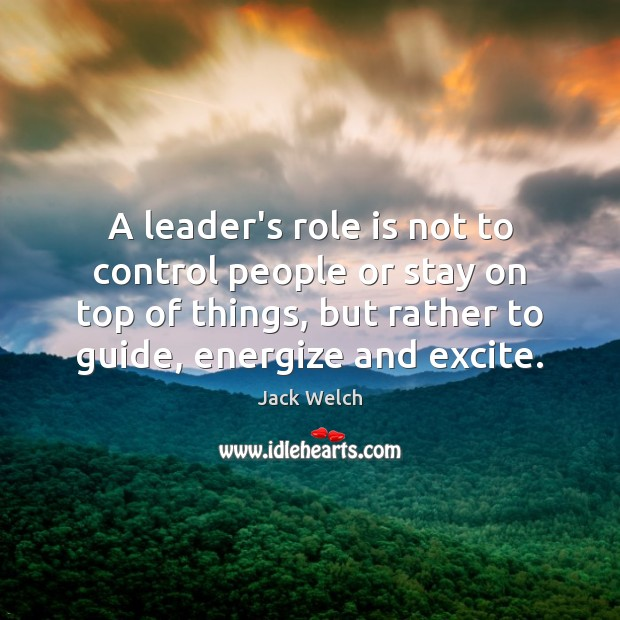A leader's role is not to control people or stay on top Image