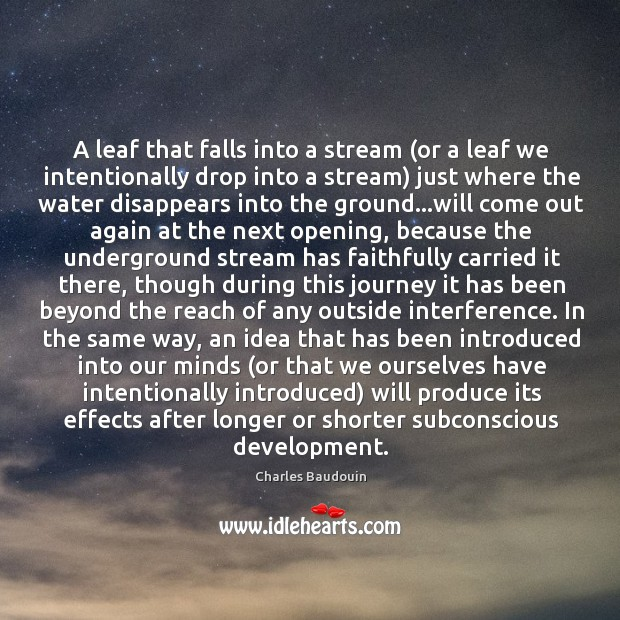 A leaf that falls into a stream (or a leaf we intentionally Image