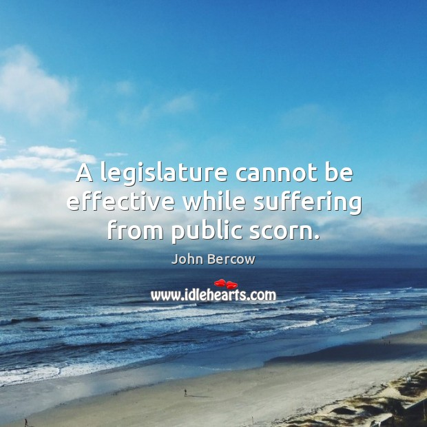 A legislature cannot be effective while suffering from public scorn. Image