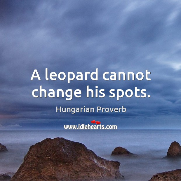 Image, A leopard cannot change his spots.