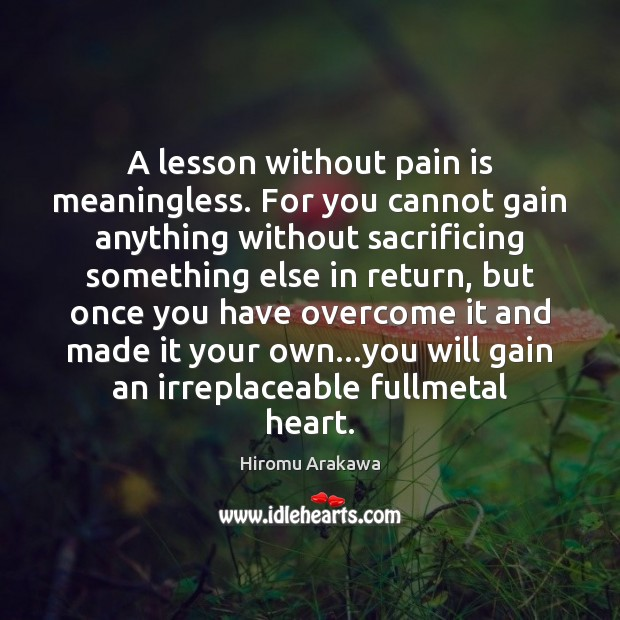 Image, A lesson without pain is meaningless. For you cannot gain anything without