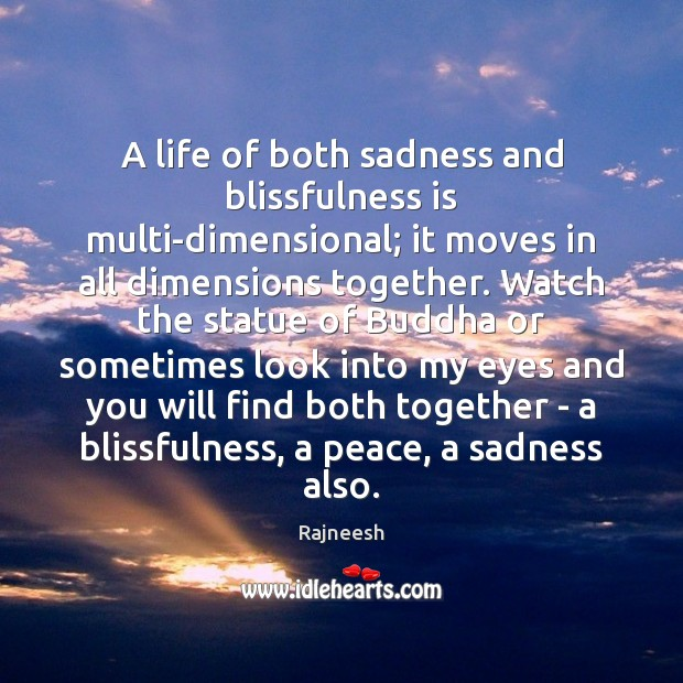 Image, A life of both sadness and blissfulness is multi-dimensional; it moves in