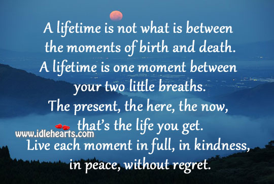 The moments of birth and death. Image