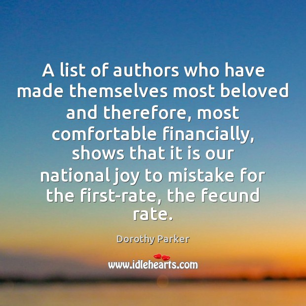 A list of authors who have made themselves most beloved and therefore, Image