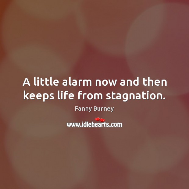A little alarm now and then keeps life from stagnation. Fanny Burney Picture Quote