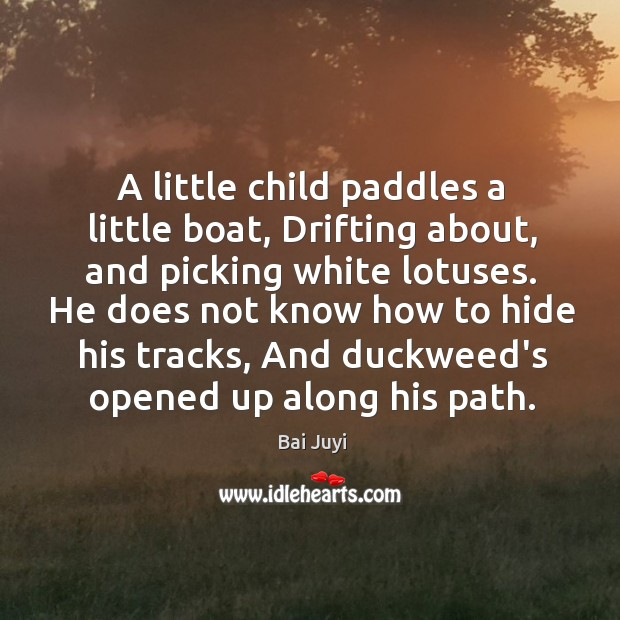 Image, A little child paddles a little boat, Drifting about, and picking white