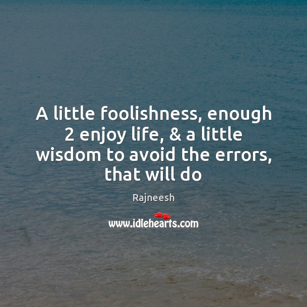Image, A little foolishness, enough 2 enjoy life, & a little wisdom to avoid the