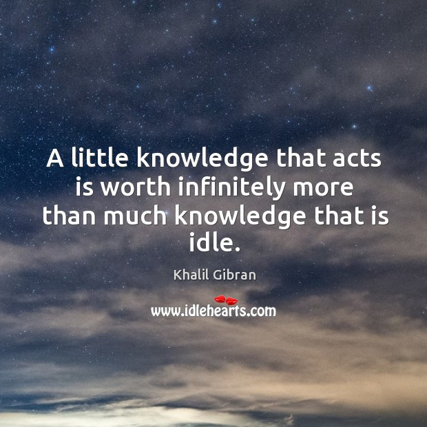 Image, A little knowledge that acts is worth infinitely more than much knowledge that is idle.