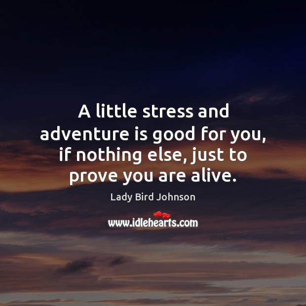 A little stress and adventure is good for you, if nothing else, Lady Bird Johnson Picture Quote