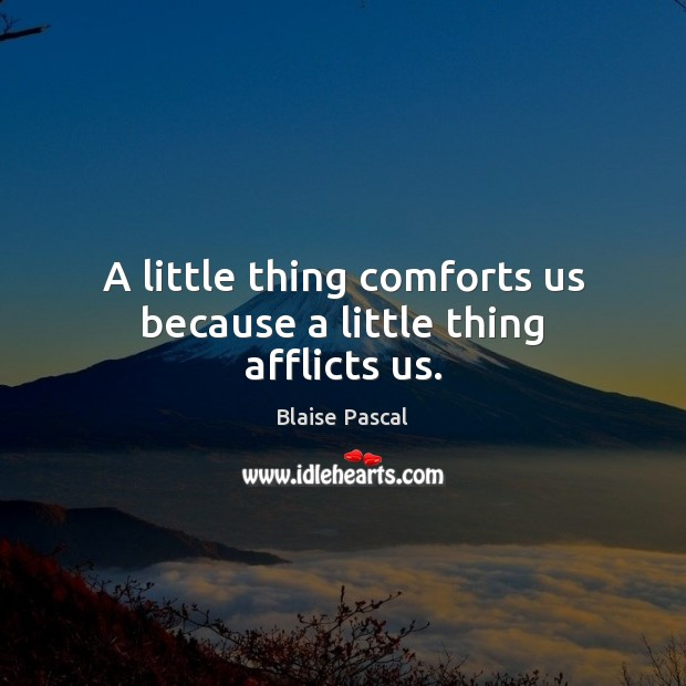 Image, A little thing comforts us because a little thing afflicts us.