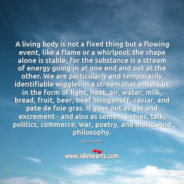 Image, A living body is not a fixed thing but a flowing event,