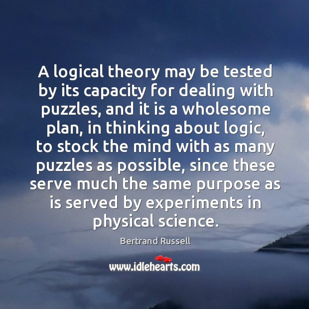 A logical theory may be tested by its capacity for dealing with Image
