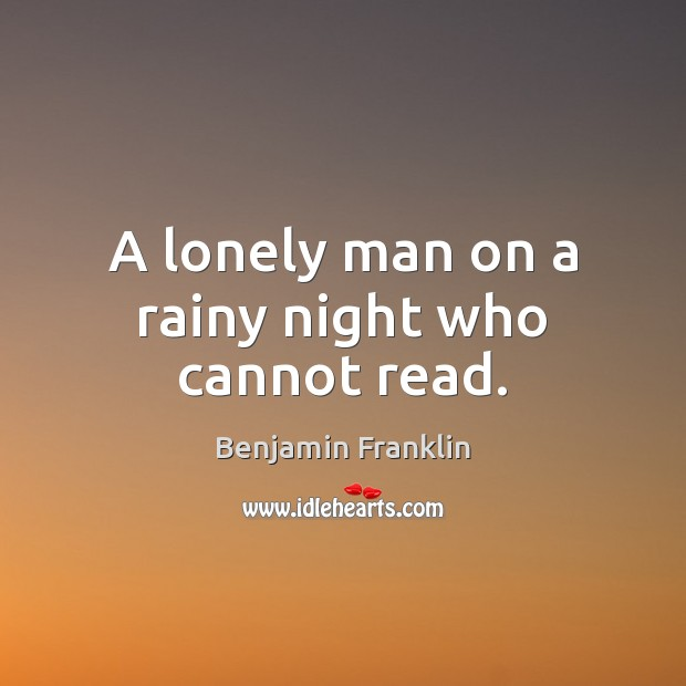 Image, A lonely man on a rainy night who cannot read.