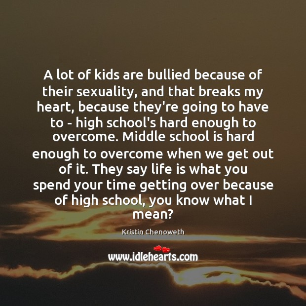 A lot of kids are bullied because of their sexuality, and that Image