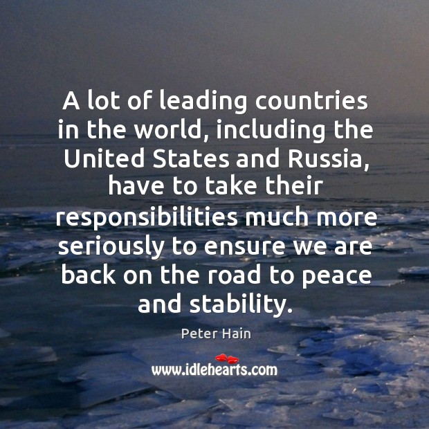 A lot of leading countries in the world, including the united states and russia Image