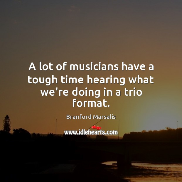 Image, A lot of musicians have a tough time hearing what we're doing in a trio format.
