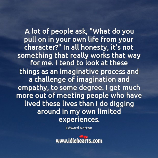 """Image, A lot of people ask, """"What do you pull on in your"""