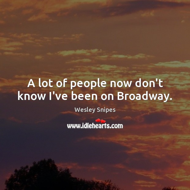 A lot of people now don't know I've been on Broadway. Wesley Snipes Picture Quote