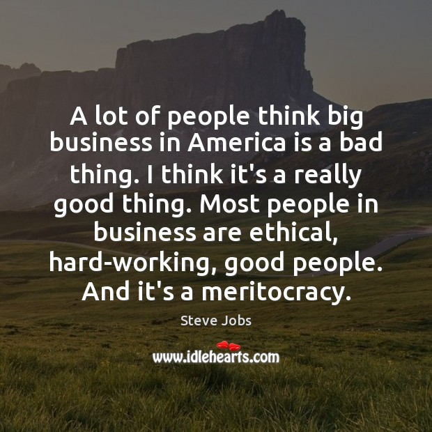 A lot of people think big business in America is a bad Image