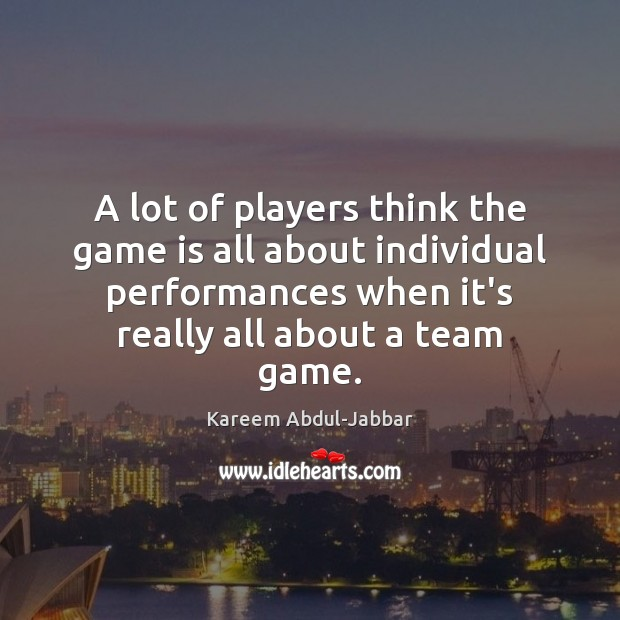 Image, A lot of players think the game is all about individual performances