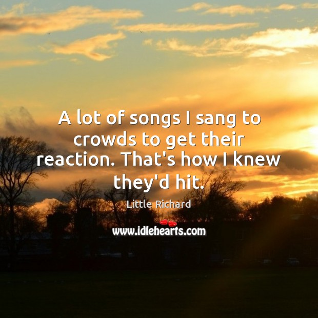 A lot of songs I sang to crowds to get their reaction. That's how I knew they'd hit. Little Richard Picture Quote