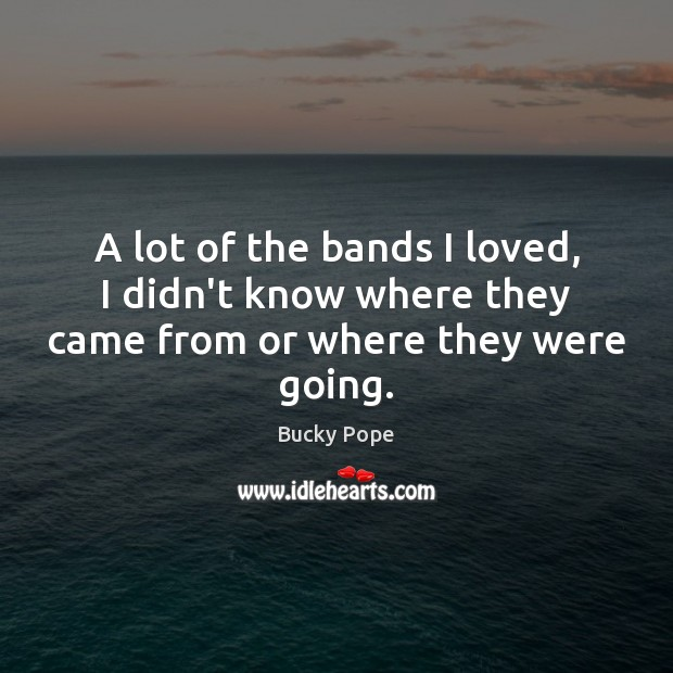 Image, A lot of the bands I loved, I didn't know where they came from or where they were going.