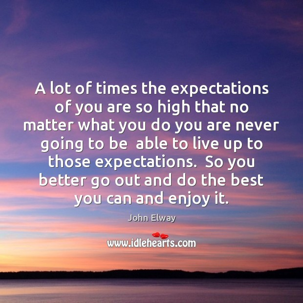 Image, A lot of times the expectations of you are so high that