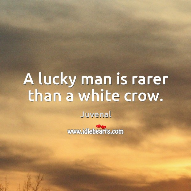 A lucky man is rarer than a white crow. Image