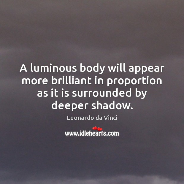 A luminous body will appear more brilliant in proportion as it is Image