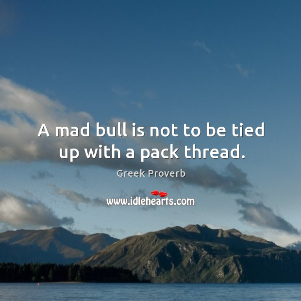 Image, A mad bull is not to be tied up with a pack thread.