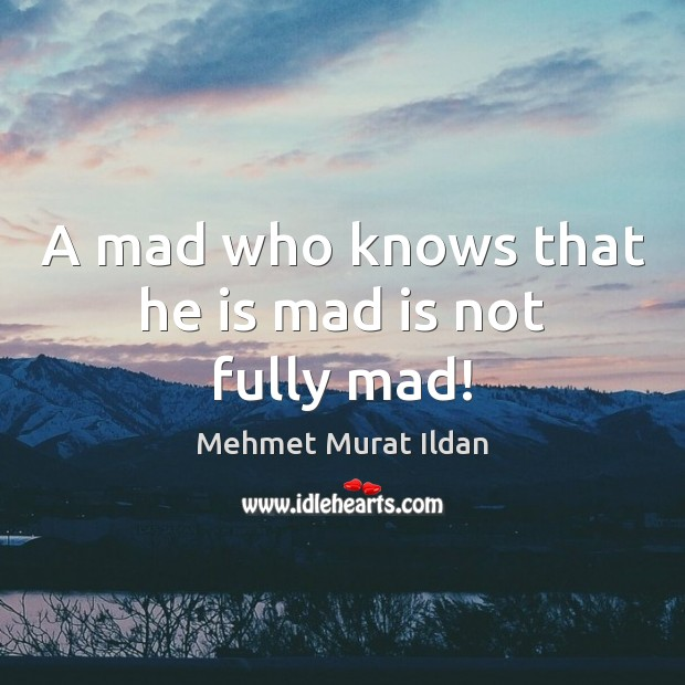 Image, A mad who knows that he is mad is not fully mad!