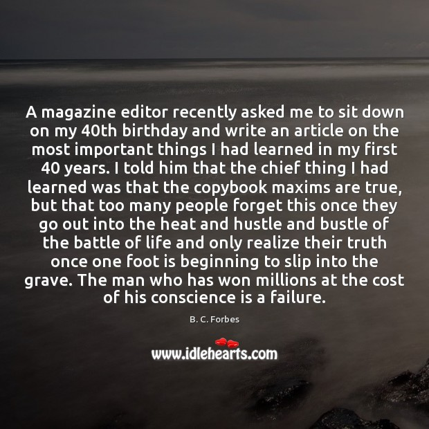 Image, A magazine editor recently asked me to sit down on my 40th