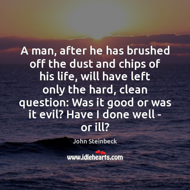 A man, after he has brushed off the dust and chips of Image