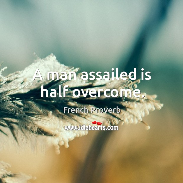 Image, A man assailed is half overcome.