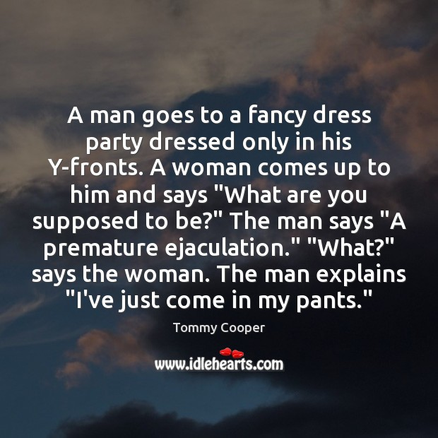 Image, A man goes to a fancy dress party dressed only in his