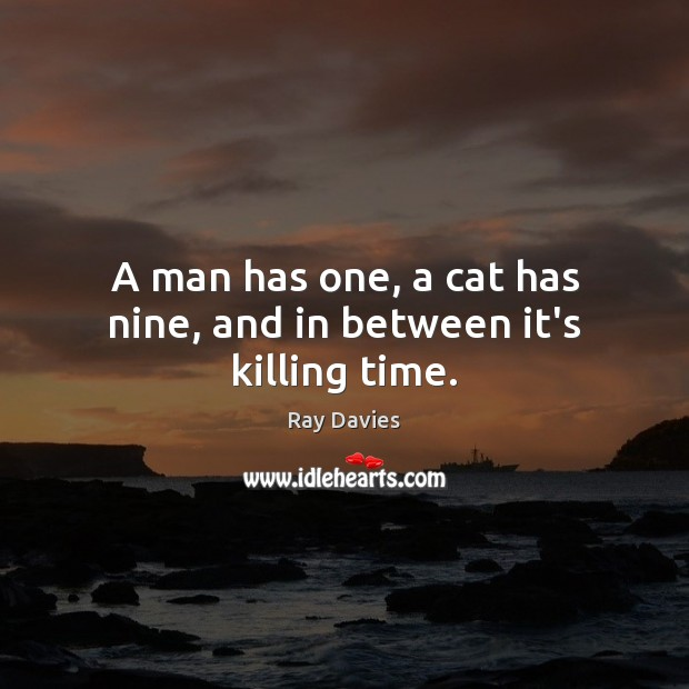 A man has one, a cat has nine, and in between it's killing time. Ray Davies Picture Quote