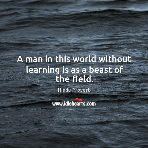 A man in this world without learning is as a beast of the field. Hindu Proverbs Image