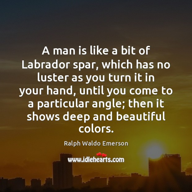 Image, A man is like a bit of Labrador spar, which has no