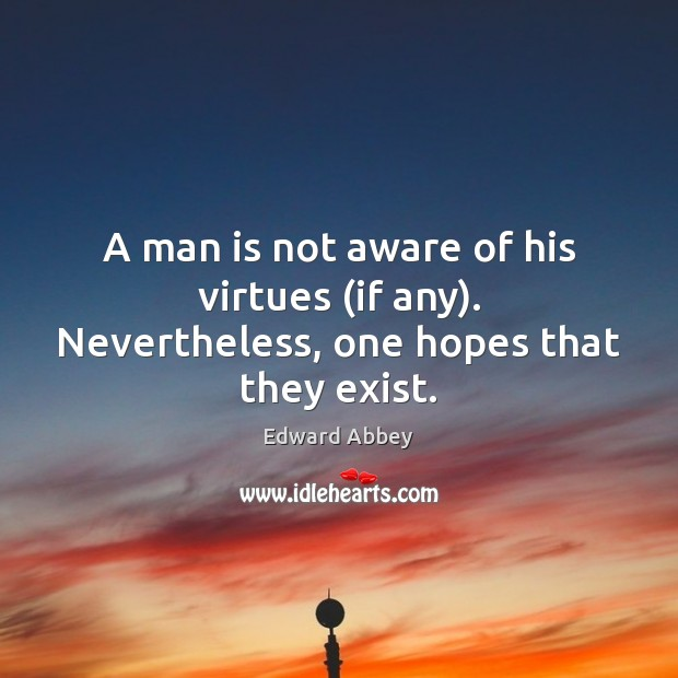 Image, A man is not aware of his virtues (if any). Nevertheless, one hopes that they exist.