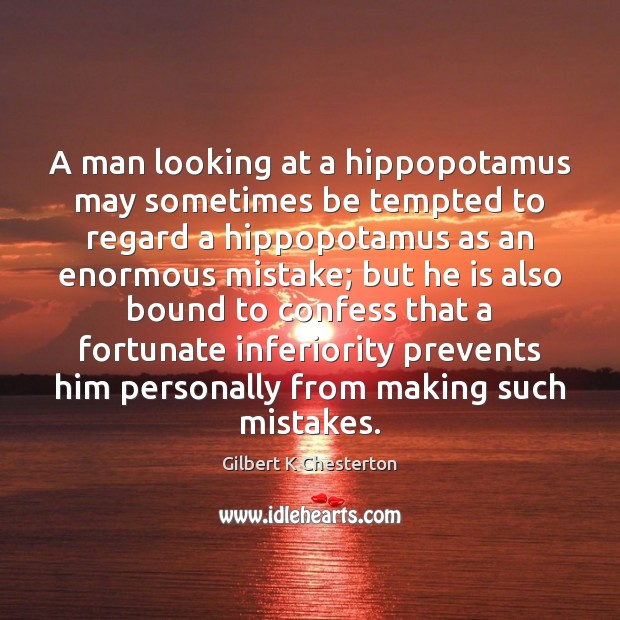 A man looking at a hippopotamus may sometimes be tempted to regard Image
