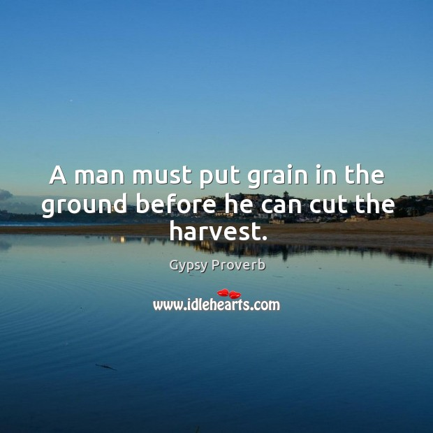 A man must put grain in the ground before he can cut the harvest. Gypsy Proverbs Image