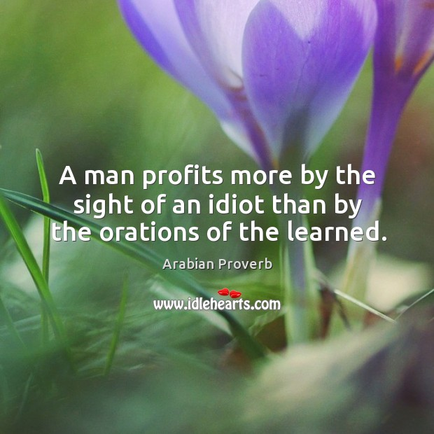 A man profits more by the sight of an idiot than by the orations of the learned. Arabian Proverbs Image