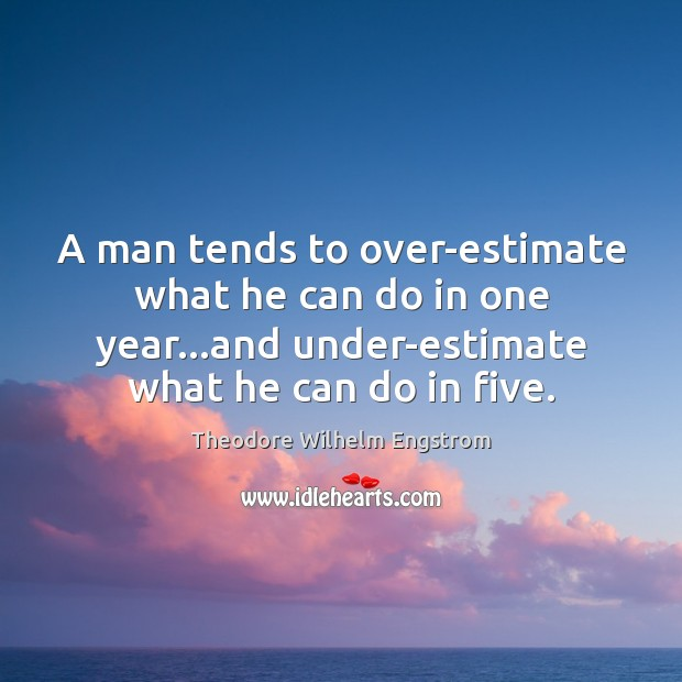 A man tends to over-estimate what he can do in one year… Image