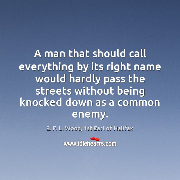 A man that should call everything by its right name would hardly E. F. L. Wood, 1st Earl of Halifax Picture Quote